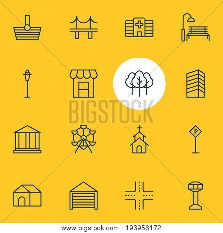 Vector Illustration Of 16 Urban Icons. Editable Pack Of Road Sign, Bench, Lamppost And Other Elements.
