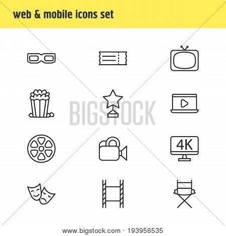 Vector Illustration Of 12 Film Icons. Editable Pack Of Resolution, Filmstrip, Movie Reel And Other Elements.