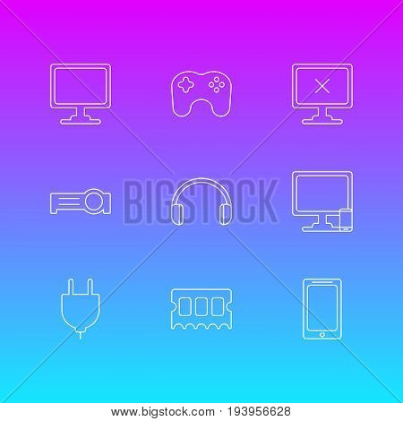Vector Illustration Of 9 Laptop Icons. Editable Pack Of Phone Near Computer, Smartphone, Socket And Other Elements.