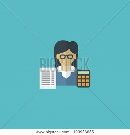 Flat Icon Accountant Element. Vector Illustration Of Flat Icon Bookkeeper Isolated On Clean Background. Can Be Used As Bookkeeper, Accountant And Booker Symbols.