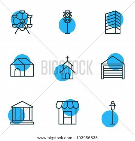 Vector Illustration Of 9 City Icons. Editable Pack Of Awning, Ferris Wheel, Home And Other Elements.