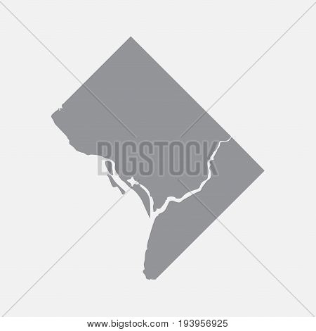Washington city map in gray on a white background