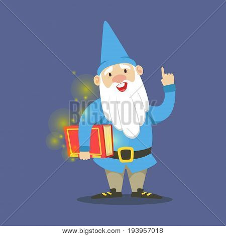 Cute dwarf in a blue clothes standing and holding red magic book vector Illustration on a blue background