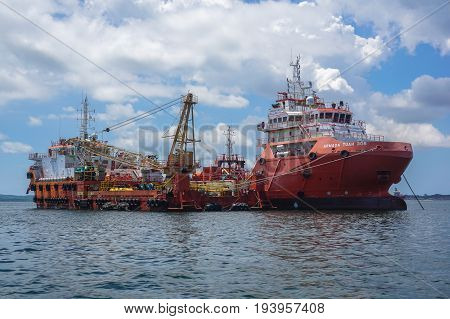 Labuan,Malaysia-May 1,2017:Multi function offshore oil & gas support, paltform & supply vessels at Labuan,Malaysia.All the vessels in Labuan island,most related to the offshore Oil & Gas industry