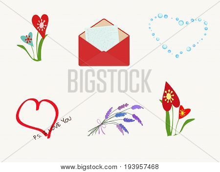 A set of different elements for romantic postcards, greeting with Valentine's day, declaration of love. Hearts, flowers and love confession perfectly match your romantic concept. Horizontal. Vector.