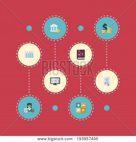 Flat Icons Accounting System, Bookkeeper, Act And Other Vector Elements. Set Of Accounting Flat Icons Symbols Also Includes Paper, Calculate, Act Objects.