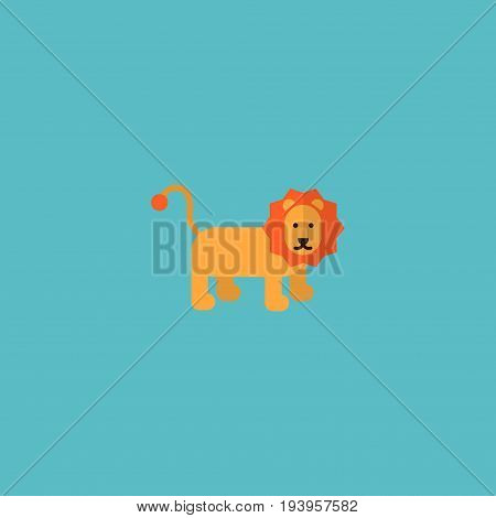 Flat Icon Lion Element. Vector Illustration Of Flat Icon Wildcat Isolated On Clean Background. Can Be Used As Lion, Wildcat And Forest Symbols.