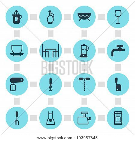 Vector Illustration Of 16 Kitchenware Icons. Editable Pack Of Coffee Cup, Faucet, Smock And Other Elements.