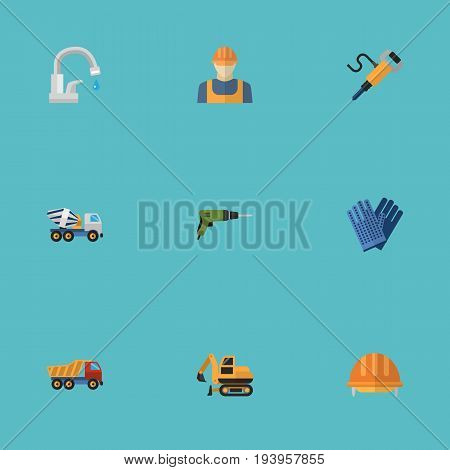 Flat Icons Van, Hardhat, Tractor And Other Vector Elements. Set Of Industry Flat Icons Symbols Also Includes Electric, Drill, Headwear Objects.