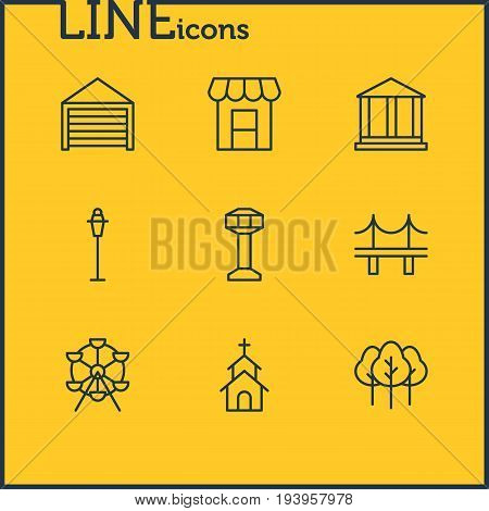 Vector Illustration Of 9 City Icons. Editable Pack Of Forest, Building, Ferris Wheel And Other Elements.