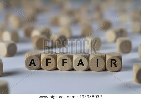 Affair - Cube With Letters, Sign With Wooden Cubes