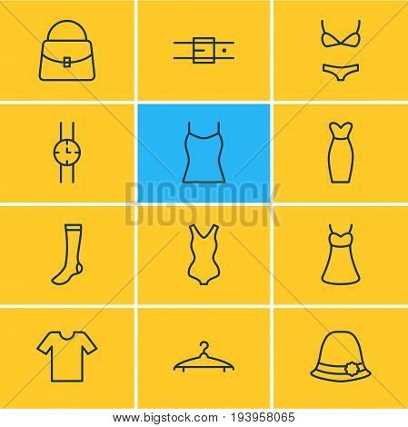 Vector Illustration Of 12 Dress Icons. Editable Pack Of Cloakroom, Casual, Hosiery And Other Elements.