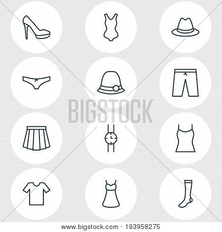 Vector Illustration Of 12 Garment Icons. Editable Pack Of Evening Dress, Casual, Panama And Other Elements.
