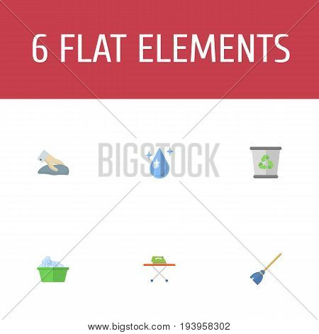 Flat Icons Garbage Container, Housekeeping, Besom And Other Vector Elements. Set Of Cleaning Flat Icons Symbols Also Includes Besom, Washcloth, Cleaning Objects.