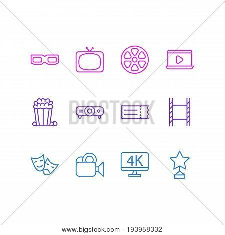 Vector Illustration Of 12 Film Icons. Editable Pack Of Movie Reel, Monitor, Tv And Other Elements.