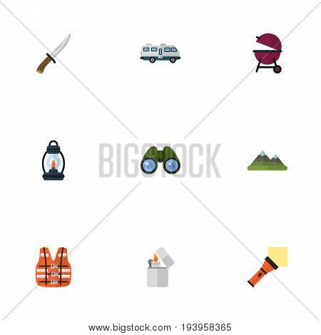 Flat Icons Lighter, Kerosene, Caravan And Other Vector Elements. Set Of Encampment Flat Icons Symbols Also Includes Life, Lamp, Pocket Objects.