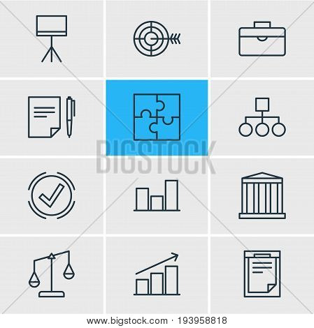 Vector Illustration Of 12 Management Icons. Editable Pack Of Solution, Portfolio, Riddle And Other Elements.