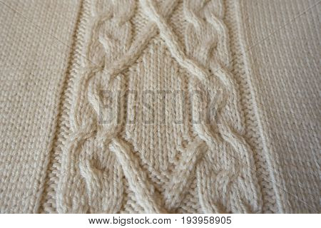 Ivory Handmade Knitted Fabric With Plait Pattern