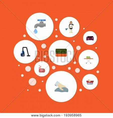Flat Icons Faucet, Towel, Clothes Washing And Other Vector Elements. Set Of Cleaning Flat Icons Symbols Also Includes Wiping, Board, Furniture Objects.