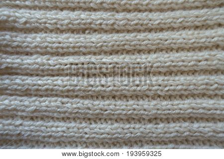 Ivory Handmade Rib Knit Fabric With Horizontal Wales