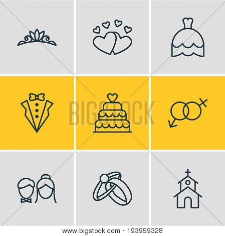 Vector Illustration Of 9 Engagement Icons. Editable Pack Of Wedding Gown, Accessories, Sexuality Symbol And Other Elements.