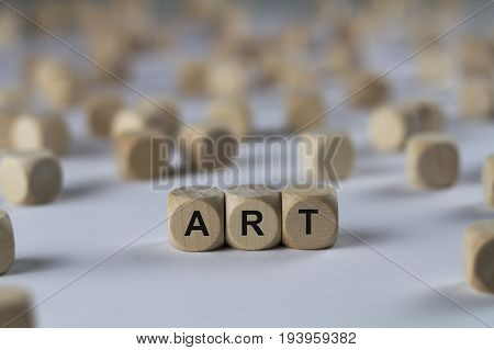 Art - Cube With Letters, Sign With Wooden Cubes