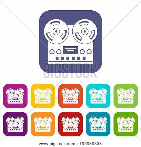 Retro tape recorder icons set vector illustration in flat style In colors red, blue, green and other