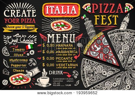 Pizza italian menu food vector design Fest