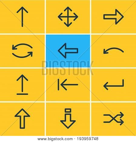 Vector Illustration Of 12 Sign Icons. Editable Pack Of Undo, Down, Turn And Other Elements.