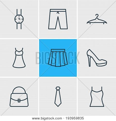 Vector Illustration Of 9 Clothes Icons. Editable Pack Of Evening Dress, Cloakroom, Handbag Elements.