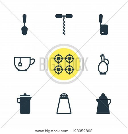 Vector Illustration Of 9 Cooking Icons. Editable Pack Of Wine Opener, Carafe, Tea And Other Elements.