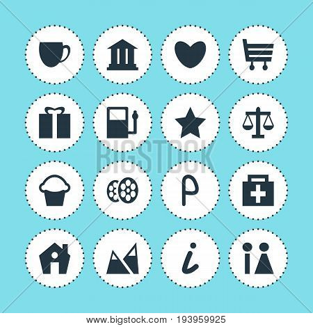 Vector Illustration Of 16 Map Icons. Editable Pack Of Toilet, Bookmark, Film And Other Elements.