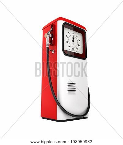Retro Red Fuel Pump Isolated On White Background 3D Without Shadow