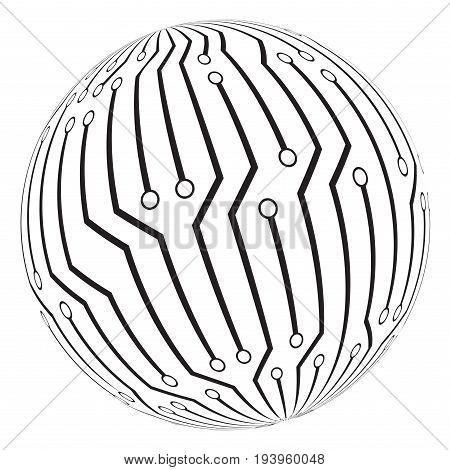 Circut Board Globe Logo Vector Symbol Icon Design.