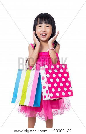 Asian Chinese Little Girl Holding Shopping Bags