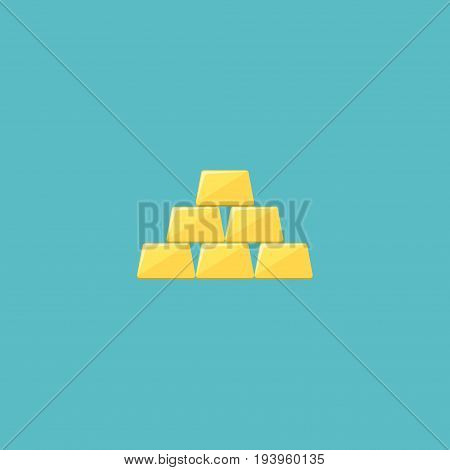Flat Icon Gold Bars Element. Vector Illustration Of Flat Icon Ingot Isolated On Clean Background. Can Be Used As Gold, Bars And Ingot Symbols.
