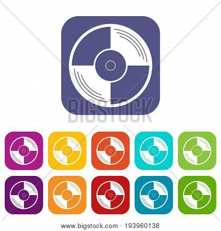 Vinyl record icons set vector illustration in flat style In colors red, blue, green and other