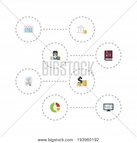 Flat Icons Sheet, Act, Stock And Other Vector Elements. Set Of Recording Flat Icons Symbols Also Includes Software, Law, Accountant Objects.