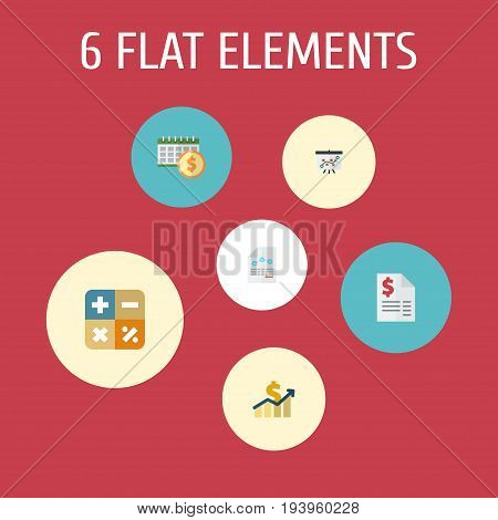 Flat Icons Paper, Deadline, Duty And Other Vector Elements. Set Of Registration Flat Icons Symbols Also Includes Paper, Deadline, Tactics Objects.
