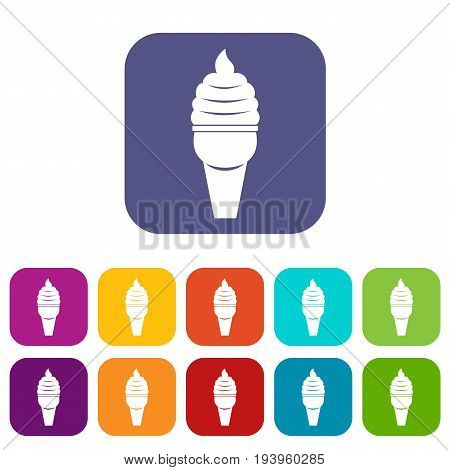 Ice cream in waffle cone icons set vector illustration in flat style In colors red, blue, green and other