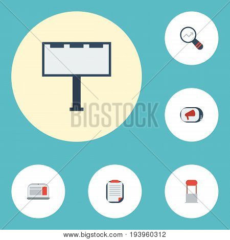 Flat Icons Television, Advertising, Placard And Other Vector Elements. Set Of Marketing Flat Icons Symbols Also Includes Ad, Laptop, Television Objects.