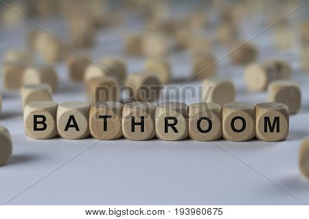 Bathroom - Cube With Letters, Sign With Wooden Cubes