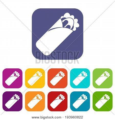 Shawarma sandwich icons set vector illustration in flat style In colors red, blue, green and other