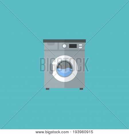 Flat Icon Washing Machine Element. Vector Illustration Of Flat Icon Laundromat Isolated On Clean Background. Can Be Used As Laundromat, Washing And Machine Symbols.
