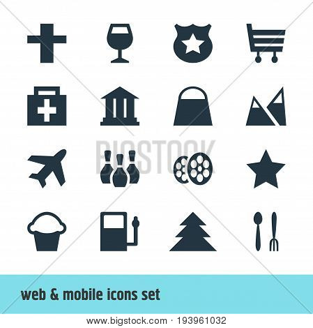 Vector Illustration Of 16 Location Icons. Editable Pack Of Cake, University, Wineglass And Other Elements.