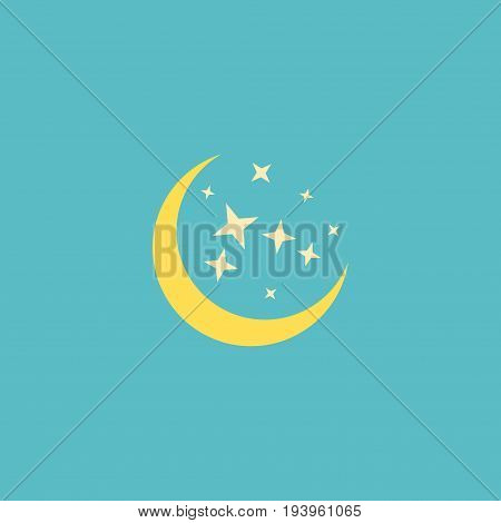 Flat Icon Moonlight Element. Vector Illustration Of Flat Icon Night Isolated On Clean Background. Can Be Used As Moon, Starts And Night Symbols.