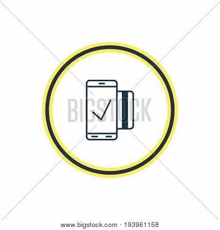 Vector Illustration Of Mobile Transaction Outline. Beautiful Security Element Also Can Be Used As Easy Payment Element.