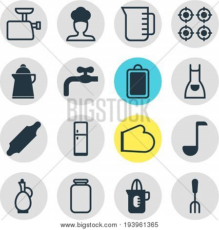 Vector Illustration Of 16 Restaurant Icons. Editable Pack Of Oven Mitts, Refrigerator, Bakery Roller And Other Elements.