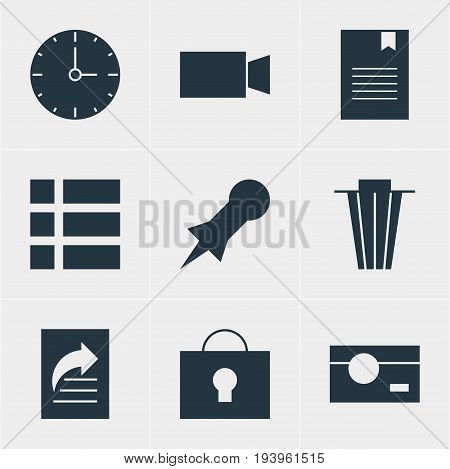Vector Illustration Of 9 Internet Icons. Editable Pack Of Capture, Clock, Thumbtack And Other Elements.