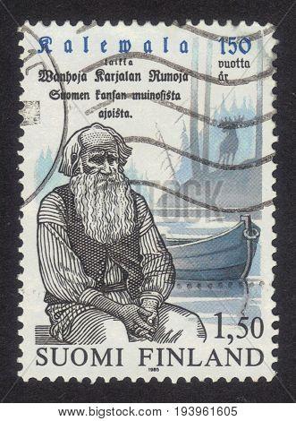 FINLAND - CIRCA 1985: a stamp printed in Finland shows portrait Petri Shemeikka (1821-1915) karelian poet singer, series centenary of the national epic Kalevala, circa 1985